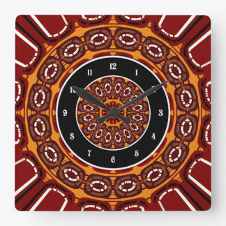 Dark red mandala square wall clock