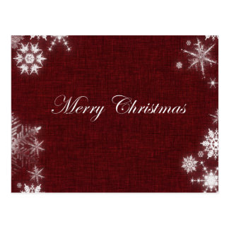 Dark Red Merry Christmas With Snowflakes Postcard
