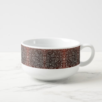 Dark Red Paisley Retro Pattern Soup Bowl With Handle