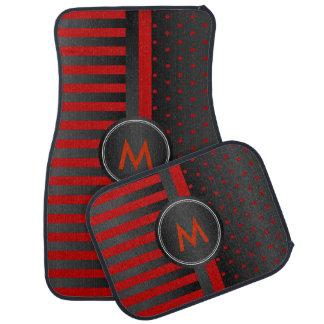 Dark Red Polka Dots and Black Stripes Car Mat