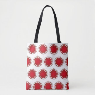 Dark Red Polka Dots Swirling Circles Tote Bag