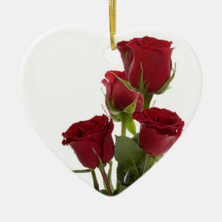 Dark Red Rose Design - Gorgeous! Ceramic Heart Decoration