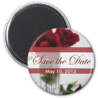 Dark Red Roses in Glass 1 Save the Date Wedding 6 Cm Round Magnet