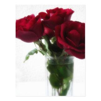 Dark Red Roses in Glass 2 Postcard