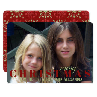 Dark Red Snowflake Double Sided Photo Card
