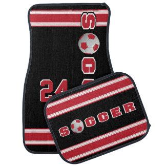 Dark Red Soccer Ball Floor Mat
