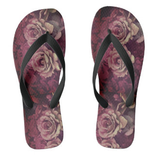 dark red soul rose flip flop