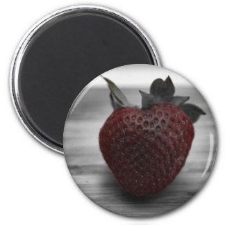 Dark Red Strawberry on Black and White 6 Cm Round Magnet