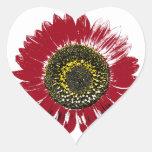 Dark Red Sunflower Stickers