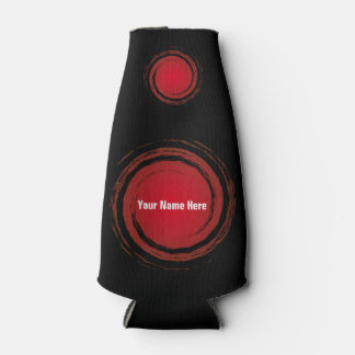 Dark Red Swirling Circles with Name Bottle Cooler