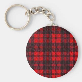 Dark Red Tartan Basic Round Button Key Ring