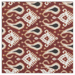 Dark Red Taupe Brown Ikat Tribal Pattern Fabric
