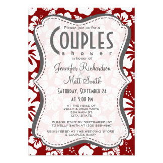 Dark Red Tropical Hibiscus Personalized Invite
