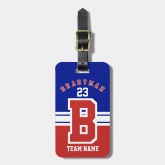 Dark Red, White and Blue Sport Design Luggage Tag