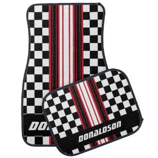 Dark Red, White & Black Checks | Personalise Car Mat