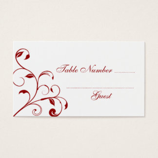 Dark Red & White Curls Wedding Table Place Cards