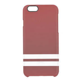 Dark Red White Racing Stripes Clear iPhone 6/6S Case