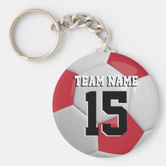 Dark Red & White Team Soccer Ball Basic Round Button Key Ring