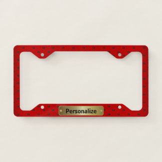 Dark Red with Black Polka Dots Licence Plate Frame