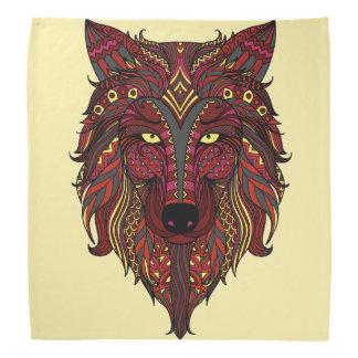 Dark Red Wolf Head gray burgundy Bandana
