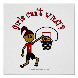 Dark Red Womens Basketball Poster