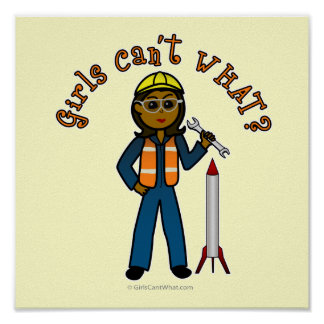 Dark Rocket Scientist Girl Poster