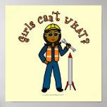 Dark Rocket Scientist Girl Posters