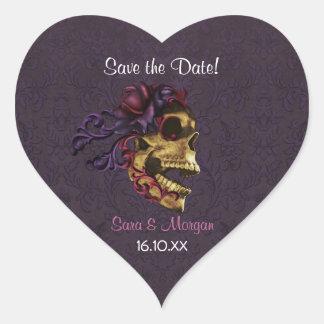Dark Romance with Skull Art Heart Sticker