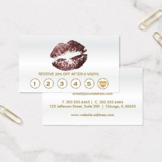 Dark Rose Glitter Lips Loyalty Cards - White