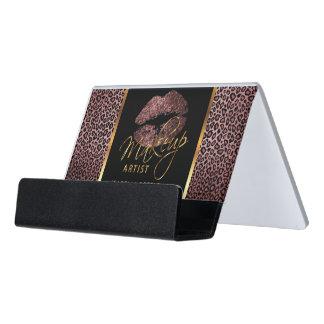 Dark Rose Glitter Lips on Gold & Leopard Desk Business Card Holder
