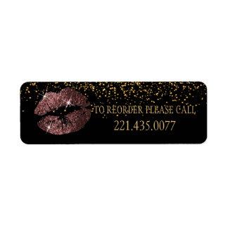 Dark Rose Glitter Lips - Reorder Return Address Label