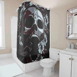 dark roses and skull with bird shower curtain