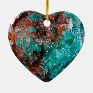 Dark Rust & Teal Quartz Ceramic Ornament