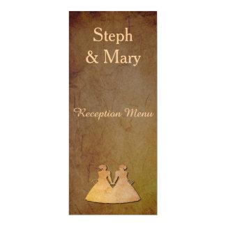 Dark Rustic Lesbian Brides Wedding Reception Menu 10 Cm X 24 Cm Invitation Card