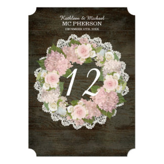 Dark Rustic Wood Table Numbers Pink Hydrangea Rose