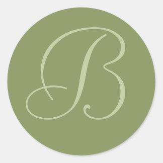 Dark Sage Green Monogrammed Wedding Envelope Seals Round Sticker
