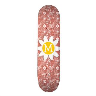 Dark Salmon Paisley Daisy Skate Board Deck
