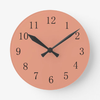 Dark Salmon Round (Medium) Wall Clock