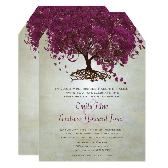 Sangria Wedding Invitations: Dark Sangria Heart Leaf Tree Wedding Invites
