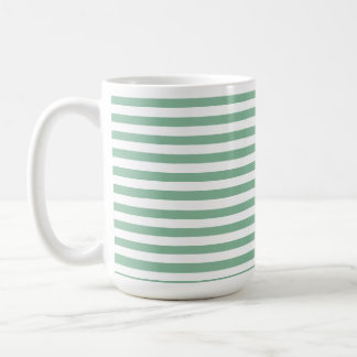 Dark Sea Green Horizontal Stripes Basic White Mug