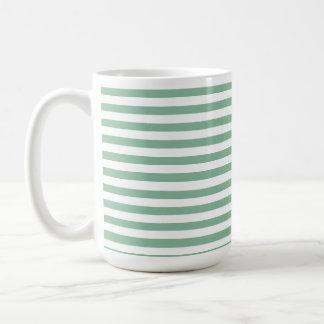 Dark Sea Green Horizontal Stripes Basic White Mug
