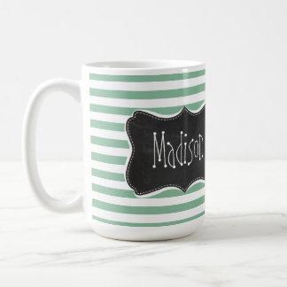 Dark Sea Green Horizontal Stripes; Chalkboard look Basic White Mug