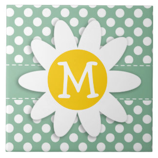 Dark Sea Green Polka Dots; Daisy Ceramic Tile