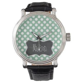 Dark Sea Green Polka Dots; Retro Chalkboard look Watch