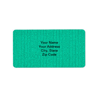 Dark Seafoam Green Weave Look Personalized Address Labels
