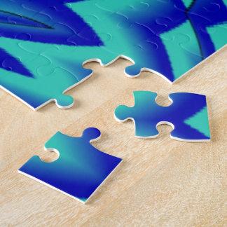 Dark Shades of Blue Floral Eyes Jigsaw Puzzle