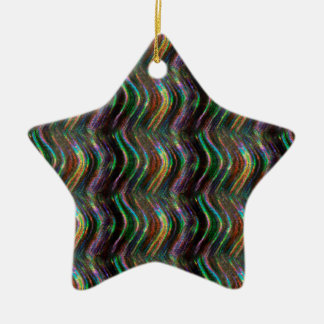Dark Shiny Holographic Wave Pattern Pixel Ceramic Ornament