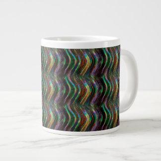 Dark Shiny Holographic Wave Pattern Pixel Extra Large Mugs