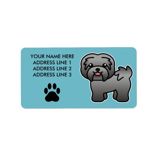 Dark Silver Cartoon Havanese Label