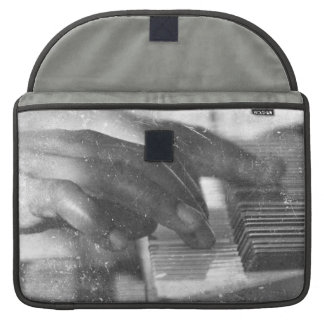 dark skin hands bw playing piano keyboard grunge sleeve for MacBook pro